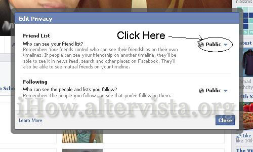 Facebook Friend List Privacy Setting
